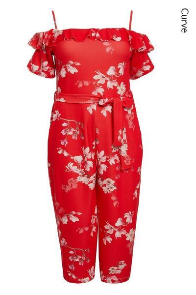 Curve Red Floral Cold Shoulder Jumpsuit